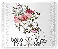 ピットブル長方形のマウスパッド、羽のかぶと自由奔放に生きるフォームデザインを身に着けている犬の肖像画、滑り止めラバーバッキングマウスパッド、多色