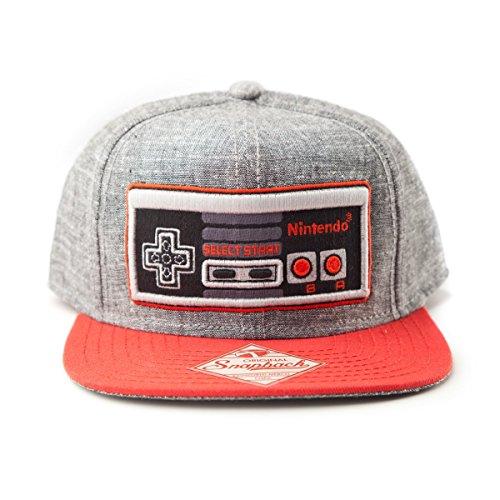 Nintendo - gorra de visera plana del controlador de juego NES - con la licencia oficial, de gran calidad, gris