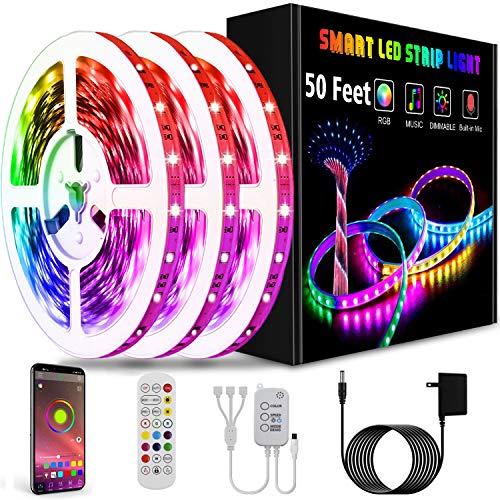 Led Lights Smart Led Strip Lights Ultra Long 50ft Music RGB