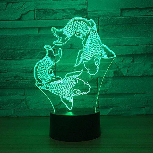 3D Illusion Lampe LED Nachtlicht Lampen Optische Schwimmender Fisch Nachtlichter 7 Farben ändern Mit USB-Kabel Schlafzimmer-Büro-Dekor für Kindergeburtstag Weihnachtsgeschenk