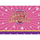 Allenjoy Pink Puppy Dog Bday Backdrop Kids Baby Girls Happy 1st Birthday Party Banner for Pictures Cake Table Decorations 7X5ft Vinyl Photography Background Photo Booth Props