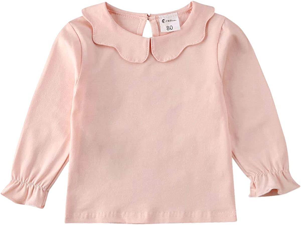 6M-6Y Toddler Baby Girls Basic Shirt Long Sleeve Solid Color Doll Collar Top Casual Tee Undershirt for Kids