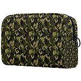 Bolsa de maquillaje militar de camuflaje verde oscuro para bolso de viaje neceser organizador cosmético portátil versátil con cremallera para mujeres y niñas