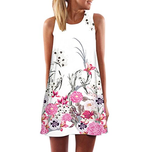 JUTOO Vintage Boho Frauen Sommer Sleeveless Strand Printed Short Mini Dress(Weiß-3, EU:46/CN:XXXL)