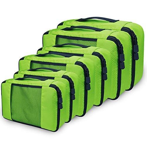 Packing Cubes Set, Netspower Kleidertaschen Kofferorganizer mit Netzmaterial, 6 Stück Reisegepäck Packtaschen Reisetaschen für Reisen Rucksack Koffer Schuhe Kleidung Kosmetik - Grün
