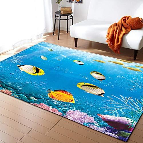 Alfombra Infantil Peces de mar 3D Diseño Moderno Alfombras de Habitación Adecuado para Salón Dormitorio Cocina Alfombras Decoración Tamaño : 80 x 160 cm