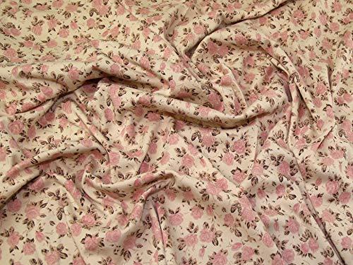 Lady McElroy Interlock Jersey Strickstoff Pink auf Beige – Meterware