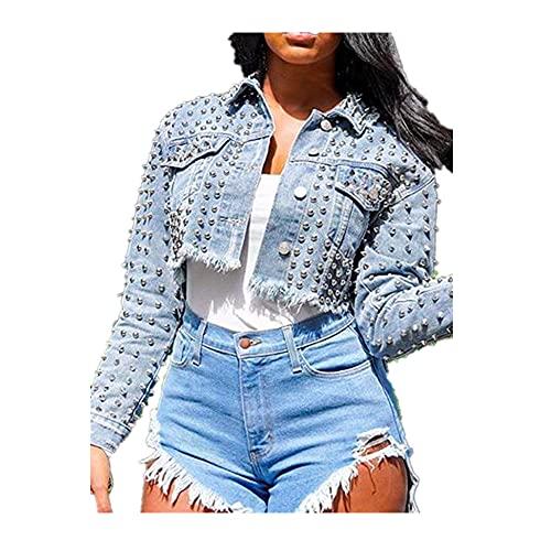 Chic Primavera Sexy Señoras Azul Claro Pantalones Cortos Jean Coat Mangas Completas