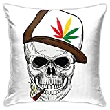 NANITHG Throw Pillow Covers 18x18 Set of 2,Baseball Skull Smoking Weed Wearing Hat Rastaman Cannabis Addict,Decorative Cushion Cases Home Decor Cozy Soft Square Pillowcases Couch Sofa Chair Car Bench