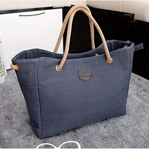 Sac à main tendance pour femme - Couleur unie - Grand sac en toile gris