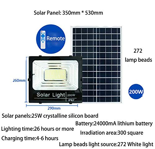 JDD Outdoor Solar schijnwerper High Power LED inductieverlichting patio licht intelligente lichtbesturing IP67 waterdicht 3,2 V voor tuin hek patio patio poort (7 energieopties), 200W
