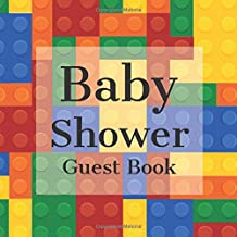 Baby Shower Guest Book: Blue Red Green Yellow Building Blocks Bricks Theme - Gender Reveal Boy Girl Signing Sign In Guestbook, Welcome New Baby with ... Prediction, Advice Wishes, Photo Milestones