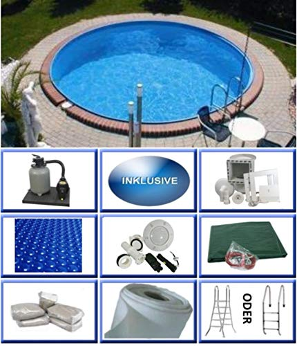 Summer Fun Stahlwandbecken Set Java Exklusiv rund ø 5,00m x 1,20m Folie 0,6mm Ultra All Inklusive Set Pool Rundpool / 500 x 120 cm Stahlwandpool