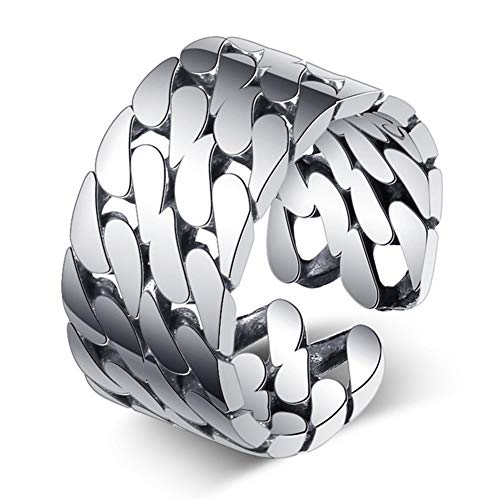MOOKO Ring für Damen 925 Sterling Silber Mode Retro Alten Backstein Quadrat Öffnung Ring Ring Armband