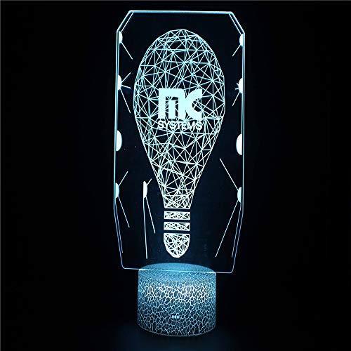 Light Bulb 3D Illusion Lights Lamp Ice Crack Base LED Table Desk Decor 7 Colors Touch Control USB Powered