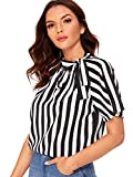 SheIn Women's Casual Side Bow Tie Neck Stripe Short Sleeve Blouse Shirt Top Large Black and White