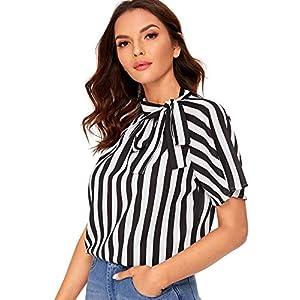 Fashion Shopping SheIn Women's Casual Side Bow Tie Neck Short Sleeve Blouse Shirt Top