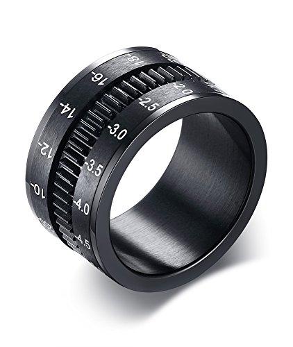 Mealguet Jewelry 12mm de Ancho Acero Inoxidable chapadas en Negro cámara teleobjetivo con diseño de Bandas de Anillo de los Hombres, Spinner