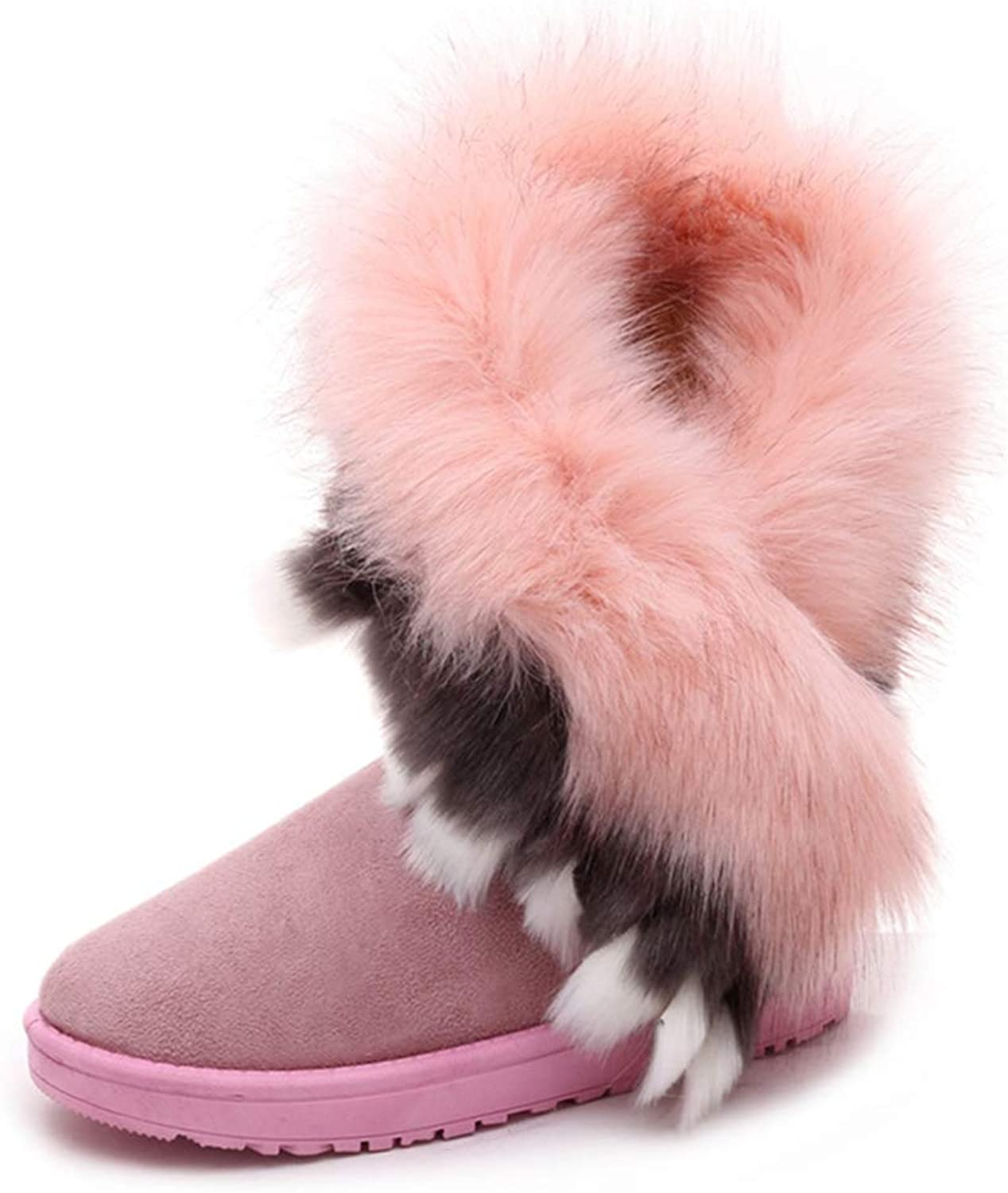 BMTH Women's Fur Suede Waterproof Snow Ankle Boots Fashion Winter Round Toe Slip On Flat Warm Short Booties