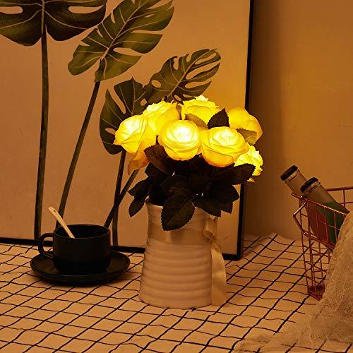 Artificial Rose Flowers Lights – 9 Pcs Rose Flowers Branch with 4 LED Lights Each Rose – Prelit Artificial Flowers 3AA Battery-Powered, DIY for Girls Room, Dinner Table, Bedroom, Floral Arrangements Silk Flower Arrangements
