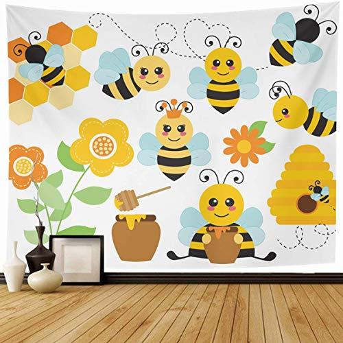 N\A Tapiz Colgante de Pared Abejorro Amarillo Lindo Miel de Abejas Naturaleza Flor Colmena Diseño de Panal Decoración para el hogar Tapices Dormitorio Decorativo Sala de Estar Dormitorio