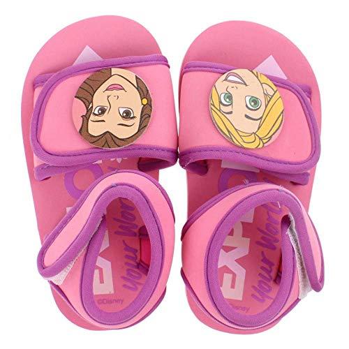 Disney Sandales Plage/Piscine pour Enfants Princess | Ouverture Facile à Double Scratch | Semelle crantée antidérapante | Motifs Princesses (Numeric_26)