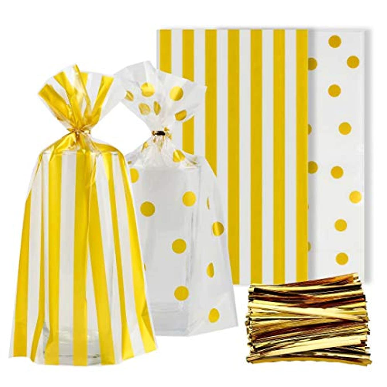 Syihaos Gold Polka and Dot Stripe Treat Bags 100 Pieces Clear Cello Bags with 300 Pieces Twist Ties for Chocolate Candy Snack Cookie Wrapping Party Favor