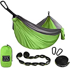✔EXTRA LARGE SIZE - Comfortably supporting up to 500 lbs: This double camping hammock fits 2 people, you can lay down with your friend or loved one and you will still have plenty of room. Because of the new 210T nylon parachute fabric, this double ca...
