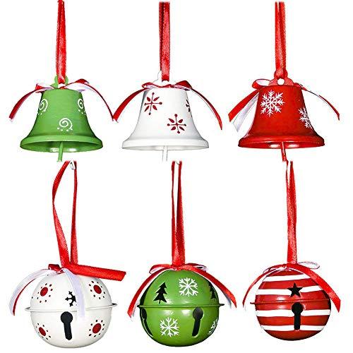 6PCS de Navidad de los cascabeles, colgando de hierro forjado pintado del árbol de navidad Decoración Conjunto,...