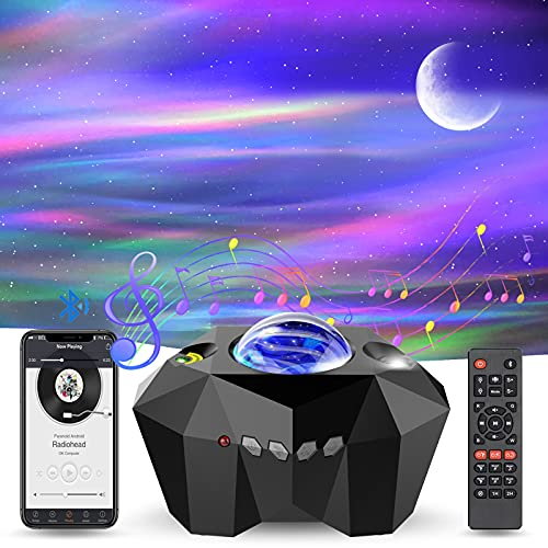 TEPILOS LED Sternenhimmel Projektor, Aurora Projektor mit Fernbedienung/Bluetooth 5.0/55 Lichteffekte/4 Helligkeitsstufen/Timer Geeignet für Kinder Erwachsene Party Weihnachten Ostern