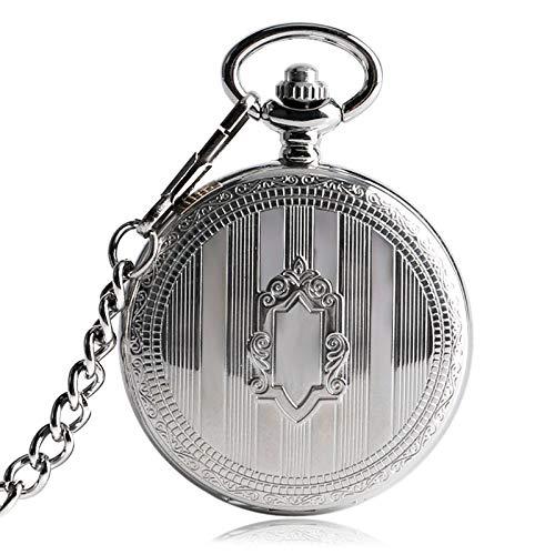 KUELXV sportinggoodsSilver Shield Stripe Case Relojes mecánicos automáticos Fob Relojes de Lujo Steampunk Colgante de joyería Hombres Mujeres Reloj de Bolsillo automático