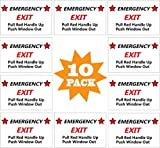 CORNERIA 10 Pack 3X4 Car Vehicle School Bus Train Red Hanle Emergency Exit Notice Warning Caution Signs Decal Sticker-Pull Red Handle Up,Push Window Out