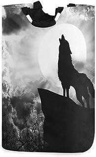 DOSHINE Panier à linge, motif loup hurlant et lune - Grand panier à linge pliable - Sac de rangement pour vêtements sales.