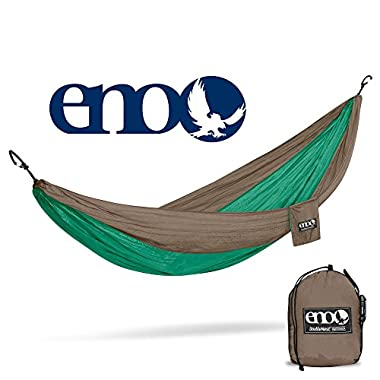 Eagles Nest Outfitters ENO DoubleNest Hammock, The Original Portable Outdoor Camping Hammock for Two, Special Edition Colors, Emerald/Khaki