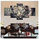 Salon moderne Hd Imprimé Toile Affiche 5 Pièces Chat Noir Mur Art Peinture Home...