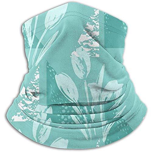 Linger In Green Flower Triangle Neck Gaiter Face Mask Bandana Seamless Headband Ski Riding Running
