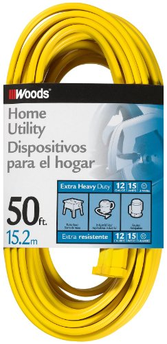 Woods 0838 Flat Spt-3 Extension Cord, 3 12 Awg Bare Conductor, 50 Ft L, 15 A, 125 Vac, Foot, Copper