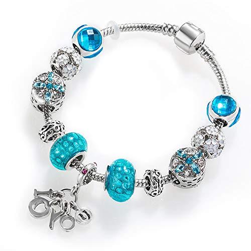 HAKJ<YT Hand String Vrouw Blauw Creatieve Kralen Armband met Letter Seinical Mode Persoonlijkheid Armband
