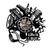 SuDeLLong Reloj de Pared único Decoración de Reloj de Pared de Vinilo Inicio Oficina de Guitarra Música Drummer Rock Vinyl Wall Reloj (Color : Black, Size : 12 Inches)