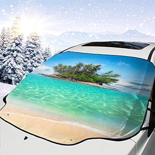 lovely baby-Z Tropical Beach - Cubierta para parabrisas de coche, quitanieve, parasol para protección de invierno, ajuste universal para coches, camiones, furgonetas y SUV, grueso y grande