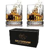 SkySnow Pack de 2 Vasos de Whiskey de 310 ml, Cristal Transparente, 100% sin Plomo, Regalo para Hombre, Papá, Esposo, Novio, Cumpleaños