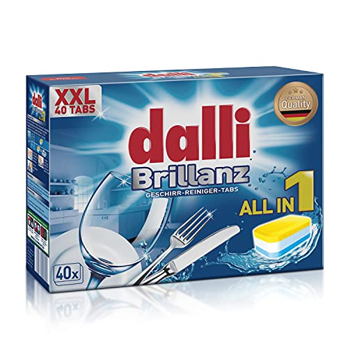 Dalli Brillanz All in One Dishwasher Tablets | 40 tabs | German Quality | Combines Powerful Dishwasher Detergent, Non-Hazardous Dishwasher Salt and Effective Dishwasher Rinse Aid | Non-Toxic | Hygienic | All Dishwasher Machine Brands Compatible