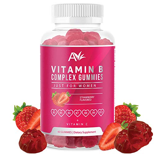 Avilana Vitamin B Complex Just for Women Vegan Gummies with Vitamin B12, B7 (Biotin), B6, B3 (Niacin), B5, B6, B8, B9 (Folate)s, Energy and Healthy Immune System (1 Pack)