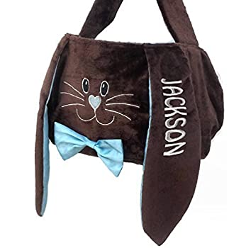 Personalized Easter Basket  Blue Chocolate  Plush Easter Basket Tote Bunny Bucket Embroidered with Kids Name