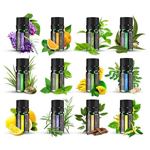 Ätherische Öle Set ANJOU Aromatherapie Duftöl ätherisches Öl 12 x 5ml für Aroma diffuser 100{0878251e6b381adae22ffe1ce2661d67bf9cb72de50859d07e8efad28c1663be} Pur Geschenkset Aromatherapie-Öl-Kit Lavendel, Orange,Zitrone,Ylang Ylang und mehr