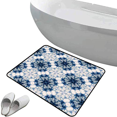 Tapis de bain antidérapant Ethnique Tapis de bain antidérapant doux zone sûre L'art d'impression Tribal Tie Dye Effect présente les formes bizarres et brumeuses au dessin de l'axe symétrique,gris bleu