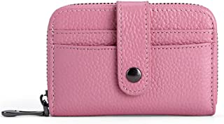 Women's Wallet First Layer Leather Card Holder Card Holder Mini Short Leather Credit Card Holder ID Card Holder (Color : Pink, Size : S)