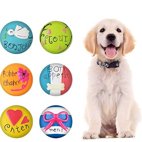6 STÜCKE Hund Quietschende Spielzeug Latex Weiche Hundespielzeug Gummi Kauen Spielzeug Holen Spielbälle für Welpen Kleine Mittlere Haustiere Hund Katze
