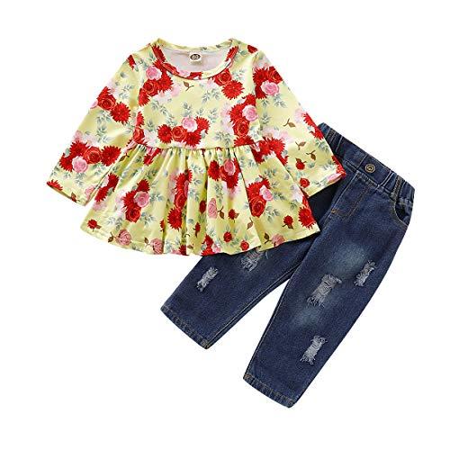 Haokaini 2 Stks/Set Baby Meisjes Lange Mouwen Broek Outfits Set, Bloemen afdrukken Top Shirt + Ripped Jeans Broek