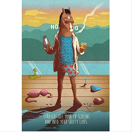 MONBAI BoJack Horseman Poster Tv Serie Animation Show Poster Und Drucke Wandkunst Bild Leinwand Malerei Wohnkultur 50 × 70 cm Kein Rahmen